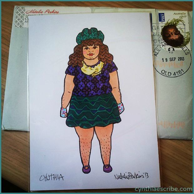 Now I love cycling so much, Natalie Perkins drew me in my gear. Skirt included.