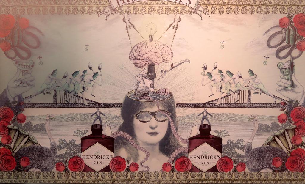 Collage of a person with glasses, the lid of their head off, showing their brain and a lightbulb. There are roses, bridges, tentacles, gin bottles, ostriches, a river and hands holding tumblers and chalices.